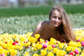 Free Beautiful Woman In Tulip Field Royalty Free Stock Images - 17386219