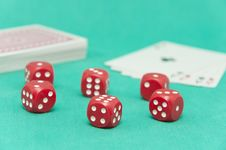 Dice And Cards At A Casino Royalty Free Stock Image