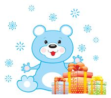 Free Blue Bear With Gifts Stock Photo - 17380180