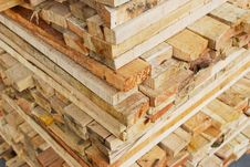 Free Stack Of Lumber In Logs Storage Closeup Royalty Free Stock Images - 17380339
