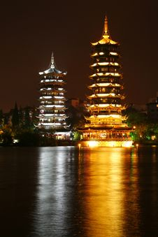 Twin Pagodas In Guilin City Center Royalty Free Stock Photography