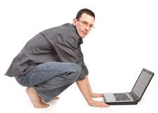 Free Guy With The Laptop Royalty Free Stock Image - 17382426