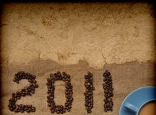Free Coffee With Granules And New Year 2011 Stock Photos - 17383263