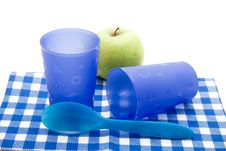 Free Blue Cups With Apple Stock Photo - 17383280