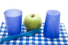 Free Blue Cups With Apple Stock Images - 17383284