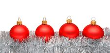 Free Red Matt Christmas Balls On Tinsel Royalty Free Stock Photo - 17383615