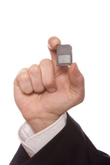 Free Businessman Holding A Secure Digital Memory Card Stock Photo - 17383620