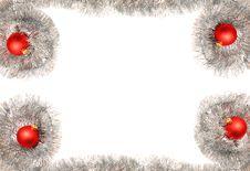 Silver Tinsel Garland And Christmas Balls Stock Image