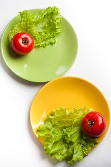 Free Tomato And Lettuce On A Dish Stock Photo - 17383970