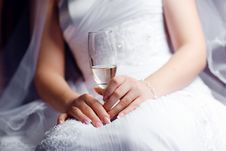 Champagne In A Hand Stock Photo