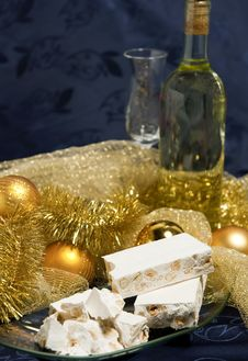 Free White Nougat With Christmas Decorations Stock Photos - 17384393