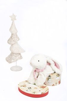 Free White Christmas Tree And A Toy White Rabbit Stock Photo - 17385300