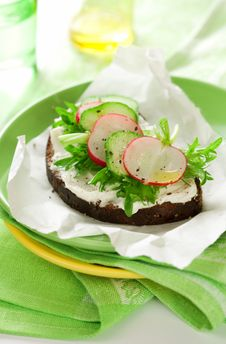 Free Sandwich With Soft Cheese ,radish And Cucumber Royalty Free Stock Photo - 17386945