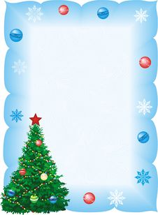 Christmas Fir In Blue Frame Royalty Free Stock Image