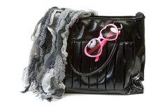 Free Feminine Bag With Scarf And Rose-colored Glasses Stock Photo - 17387840