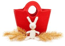 Free Red Bag And Knitted Hare Stock Photography - 17388062