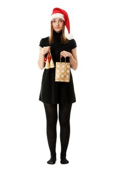 Free Girl In Red Santa Hat Royalty Free Stock Photos - 17388088