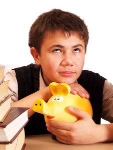 Free A Boy And A Piggy Bank Stock Image - 17388151