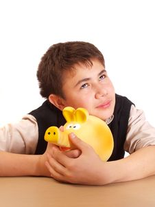 Free A Boy And A Piggy Bank Royalty Free Stock Images - 17388169