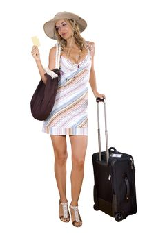 Free Woman On Vacation With Beach Bag Stock Photos - 17388283