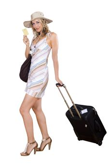 Free Woman On Vacation With Beach Bag Stock Photos - 17388293
