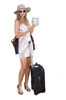 Free Woman On Vacation With Beach Bag Stock Images - 17388304