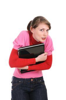 The Woman Presses To Itself The Laptop Stock Photos