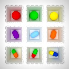 Free Color Pills Royalty Free Stock Images - 17390179