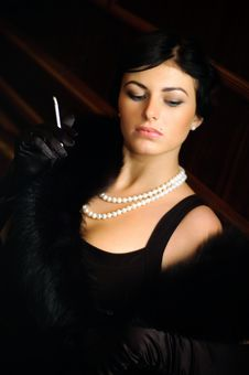 Free Luxurious Lady With A Cigarette. Vintage Style. Stock Images - 17390224