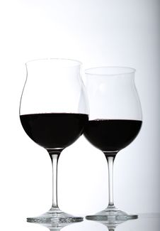 Free Two Red Wine Glasses Half Full Royalty Free Stock Photo - 17391915