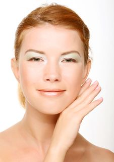 Beautiful Health Woman Face With Clean Purity Skin Stock Photography