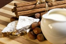 Gingerbread, Nuts, Milk And Cinnamon Stock Photos