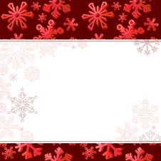 Free Red Frame With Big Snowflakes Stock Photos - 17393653