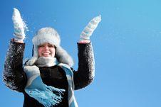 Free Woman Making Snowfall Stock Photography - 17394042