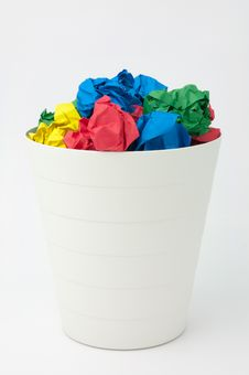 Free Full Recycle Bin By Multicolor Paper Ball Stock Photo - 17394300