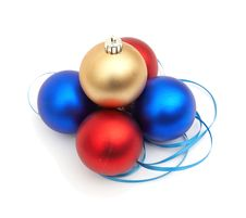 Free Red And Blue Christmas Blubs Stock Photo - 17394470