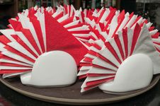 White And Red Napkins. Stock Photography