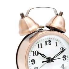 Free Isolated Bronze Vintage Alarm Clock Royalty Free Stock Images - 17395459