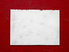 Free White Paper Stick On Crack Old Red Wall Royalty Free Stock Photography - 17395767
