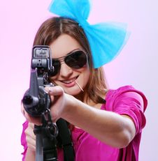 Free Attractive And Sexy Spy Woman With Assault Rifle Stock Image - 17395811