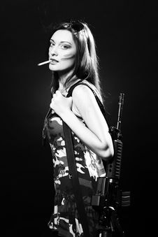 Free Attractive And Sexy Spy Woman With Assault Rifle Stock Photography - 17395812