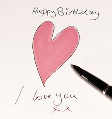 Free Handmade Romantic Birthday Card Royalty Free Stock Photography - 17397997
