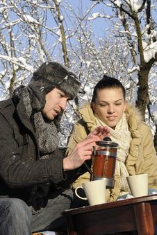 Couple Drinking Tea Stock Image