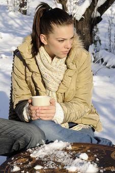 Teenager Girl Enjoying Tea Stock Photo