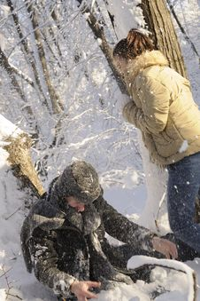 Free Teens Fighting With Snow Balls Stock Images - 17398344
