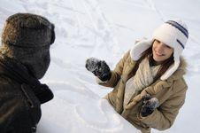 Free Teens Playing In Winter Season Royalty Free Stock Image - 17398416