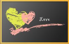 Hearts, Drawing On Blackboard Stock Photo