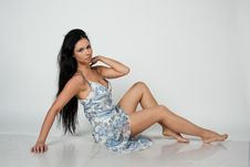 Girl In Blue And White Dress Stock Photo