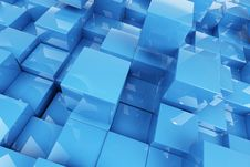 Free Abstraction Blue Cubes Royalty Free Stock Images - 17399619