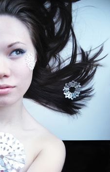 Free Young Girl With Makeup And Cut Snowflakes Stock Photos - 17399873